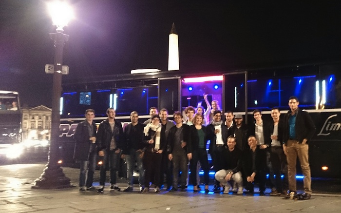 StartupBus France 2013 in front of the party bus